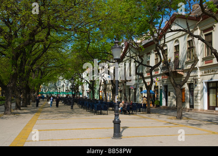 Boulevard at Trg Republike square in central Subotica Serbia Europe - Stock Photo