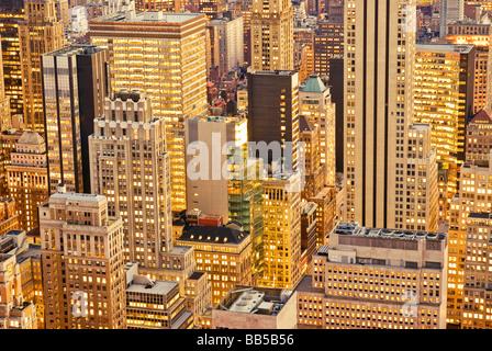Aerial Manhattan Office Buildings New York City - Stock Photo