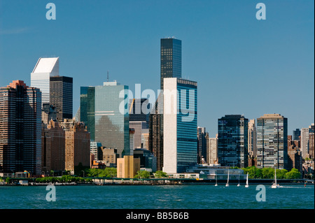 Midtown Manhattan Skyline with the United Nations, Citicorp and Trump Buildings, New York City. - Stock Photo