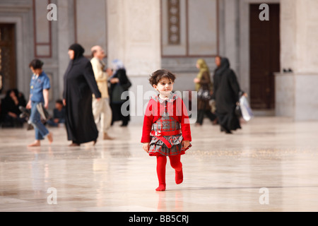 The Courtyard of the Great Umayyad Mosque, Damascus - Stock Photo