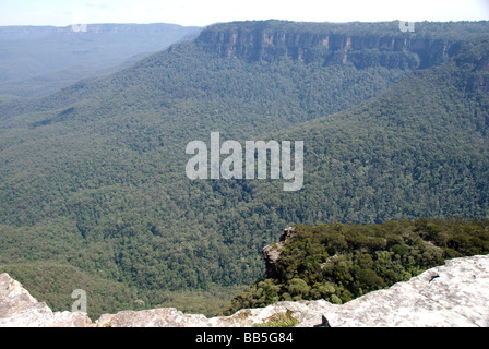 Jamison Valley as seen from Kings Table in the Blue Mountains National Park, New South Wales, Australia. - Stock Photo