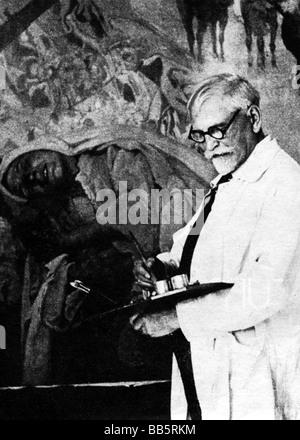 Mucha, Alfons Maria, 24.7.1860 - 14.7.1939, Czech painter, graphic artist, half length, in his studio, working, - Stock Photo