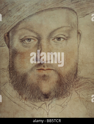 Henry VIII, 28.6.1491 - 28.1.1547, King of England since 1509, portrait, painting by Hans Holbein the Younger (1497 - Stock Photo
