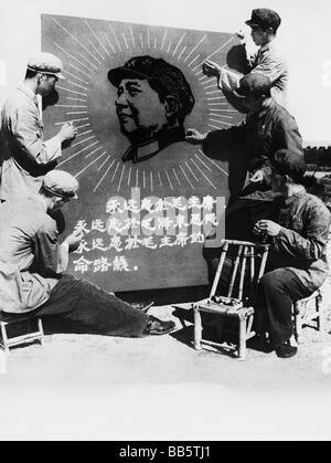geography / travel, China, politics, propaganda, Chinese military pilots making a stitchery with a picture of Mao - Stock Photo