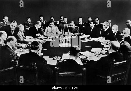 events, Second World War / WWII, conferences, Potsdam Conference 17.7.1945 - 2.8.1945, Clement Attlee, Joseph Stalin - Stock Photo