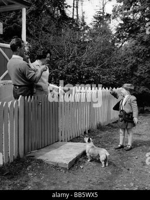 people, family, scenes, child says goodbye to his parents for going to school, 1969, - Stock Photo