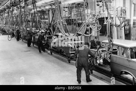 industry, vehicle industry, assembly line in Opel factory, Bochum, Germany, 1962, Additional-Rights-Clearances-NA - Stock Photo