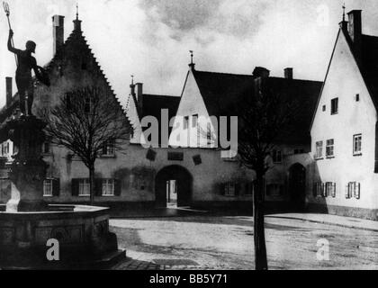 geography / travel, Germany, Augsburg, Fuggerei, square, 1930s, , Additional-Rights-Clearances-NA - Stock Photo