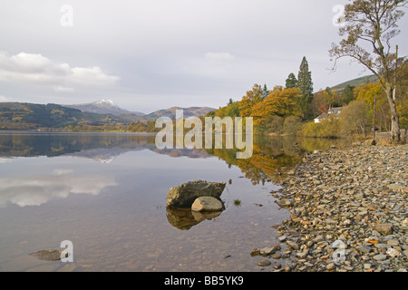 Autumn colours in the Trossachs Loch Ard looking to Ben Lomond Perthshire Scotland November 2008 - Stock Photo