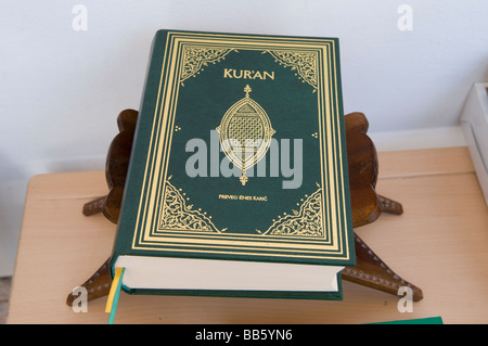 Copy of the sacred text of Islam Qur'an in a bookstore in the city of Sarajevo, Bosnia Herzegovina - Stock Photo