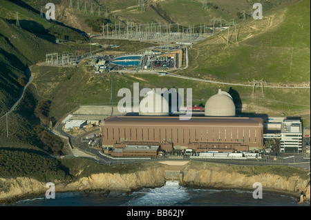 aerial above Diablo Canyon nuclear power plant Avila Beach California Pacific coast PG&E with two Westinghouse reactors - Stock Photo