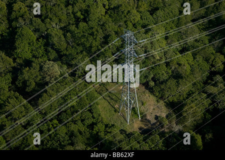 aerial view above electrical power tranmission lines over Sonoma county California oak trees - Stock Photo