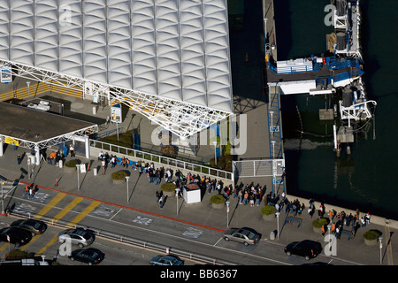 aerial view above commuters Lakspur California ferry to San Francisco - Stock Photo