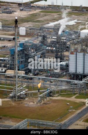 aerial view above Texas Gulf Coast refinery - Stock Photo