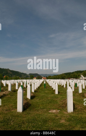 The gravestones at the Srebrenica Potocari Genocide memorial and cemetery for the Victims of the 1995 Genocide in - Stock Photo