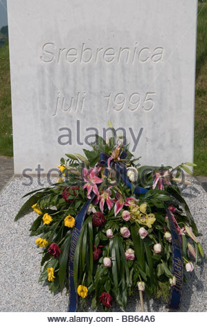 Tombstone at the Srebrenica Potocari Genocide memorial for the Victims of the 1995 Genocide in Bosnia and Herzegovina - Stock Photo