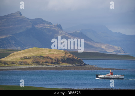 Looking north from Sconser over Loch Ainort to Old Man of Storr Raasay ferry Skye Highland region Scotland April - Stock Photo