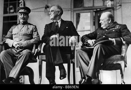 events, Second World War / WWII, conferences, Teheran Conference, 28.11.1943 - 1.12.1943, Joseph Stalin (USSR), - Stock Photo