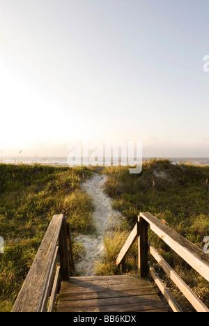 boardwalk leading to beach - Stock Photo