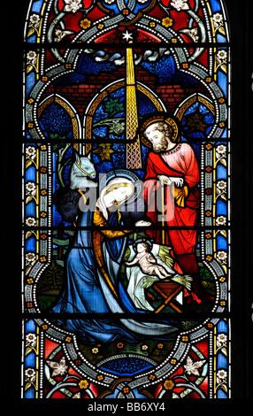 Nativity scene stained glass, St.Edith`s Church, Monks Kirby, Warwickshire, England, UK - Stock Photo