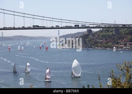 Sailing Race in Bosphorus Istanbul Turkey 2009 - Stock Photo