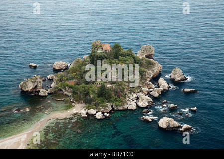 An aerial view of the island of Isola Bella, at the old medieval town of Taormina, Sicily, Italy. - Stock Photo