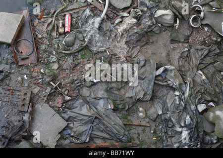 Polluted River Bank - Stock Photo