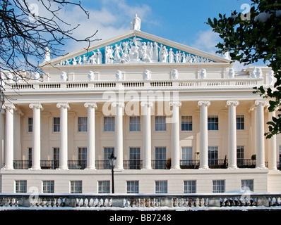 Regency Terraced Houses Cumberland Terrace in winter Regents Park London NW1 England UK - Stock Photo
