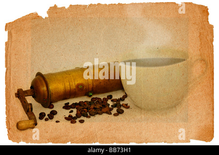 Antique coffee grinder with coffee beans and the cup of hot black coffee in grunge style - refreshment drink - Stock Photo
