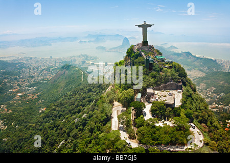 Christ the Redeemer on Corcovado Mountain Rio de Janeiro Brazil - Stock Photo