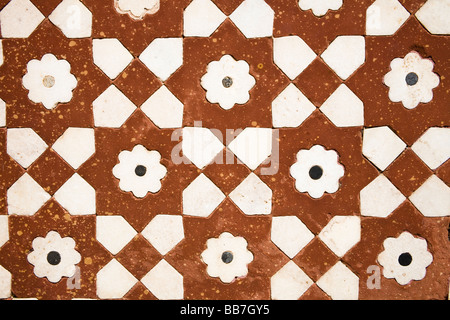 Patterned wall at the Itimad-ud-Daulah, Agra, Uttar Pradesh, India - Stock Photo