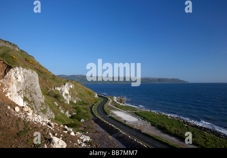 twisty section of the A2 causeway coastal route coast road County Antrim Northern Ireland UK - Stock Photo