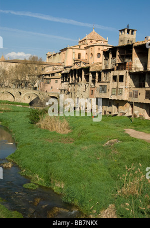 Spain.Vic.Old Town with the Cathedral and the Roman Bridge. - Stock Photo