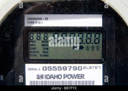 Digital electricity meter displays use and rate of consumption to consumer in Boise Idaho USA - Stock Photo