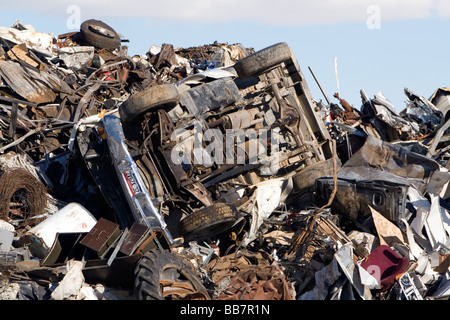 A pile of scrap metal including a junk automobile at the Pacific Steel and Recycling center in Elmore County Idaho - Stock Photo