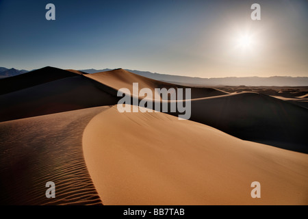 The Mesquite Sand Dunes in Death Valley National Park in California USA - Stock Photo