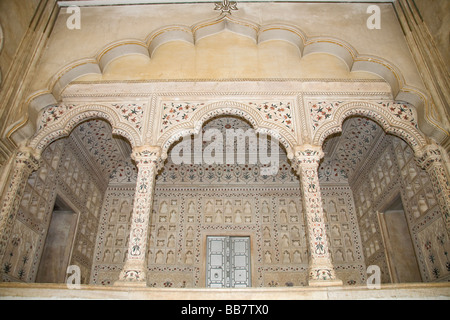 Arches inside Diwan-i-Am, Hall of Public Audience, Agra Fort, also known as Red Fort, Agra, Uttar Pradesh, India - Stock Photo