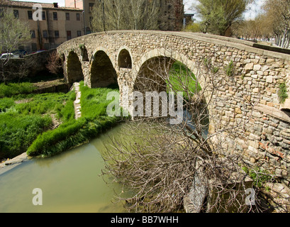 Spain Vic Old town and Roman bridge - Stock Photo