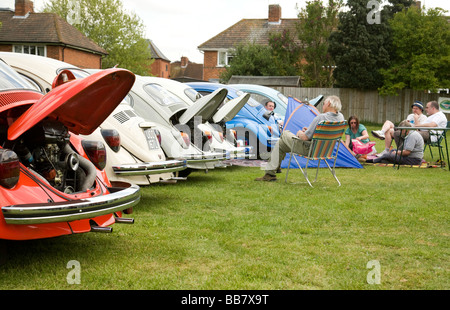Volkswagen beetles at a classic car rally, Wallingford, Oxfordshire, UK - Stock Photo