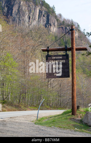 Entering Crawford Notch State Park sign on Route 302 Located in the White Mountains New Hampshire USA - Stock Photo