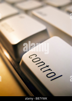 Close up of control key on computer keyboard - Stock Photo