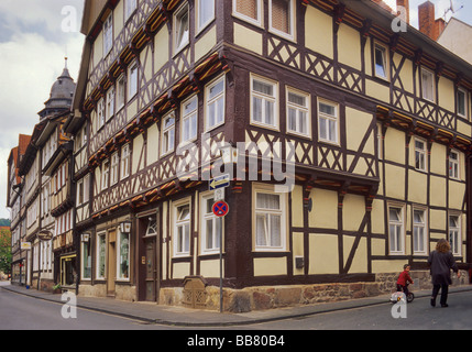 Gabled half timbered houses at Hinter der Stadtmauer street in Hann Münden, Lower Saxony, Germany - Stock Photo