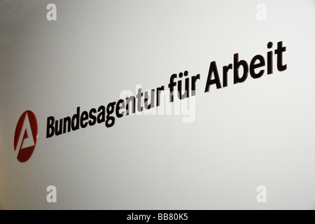 Logo and writing of the Bundesagentur fuer Arbeit, Federal Employment Office of Germany - Stock Photo