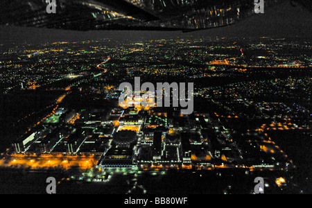 Aerial photo, night shot, Ruhr-Universitaet Bochum University, RUB, Bochum, Ruhr Area, North Rhine-Westphalia, Germany, - Stock Photo