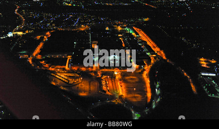Aerial photo, night shot, Opel car factory plant 1, auto industry, General Motors, Langendreer, Bochum, Ruhr Area, - Stock Photo