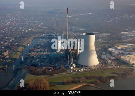 Aerial photo, STEAG EVONIK coal-fired power plant, Rhine, Power Plant Walsum, Duisburg, Ruhr Area, North Rhine-Westphalia, - Stock Photo