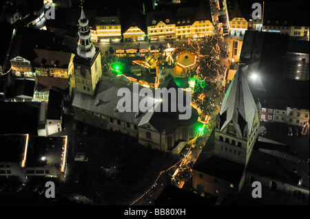 Aerial photo, night shot, Christmas market, town hall, St. Patrokli Dom Cathedral, Morgner-Haus building, site of - Stock Photo