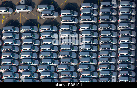 Aerial photo, OPEL Werk 1 Laer, Opel car factory plant 1, parking lot for new ZAFIRA cars before delivery, Bochum, - Stock Photo