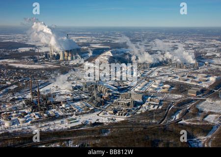 Aerial photo, VEBA power plant, Scholven refinery, VEBA-Oel AG, EON, Gelsenkirchen-Buer, Gelsenkirchen, Ruhr Area, - Stock Photo