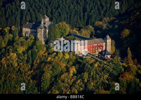 Aerial photo, Burg Schnellenberg, Schnellenberg Castle, autumnal forest, Attendorn, Sauerland, North Rhine-Westphalia, - Stock Photo